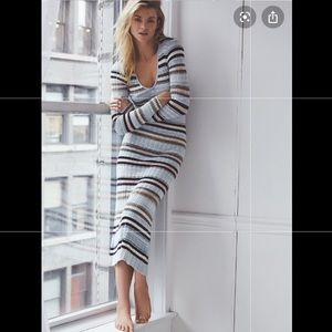 Free People Knitted Stripe Long Sleeve Maxi Dress